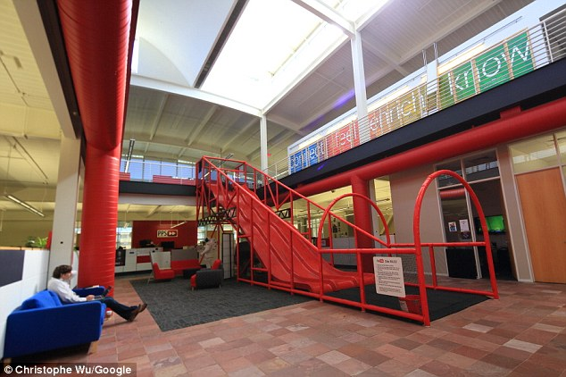 The Youtube offices (a subsidary of Google) features a three lane slide.